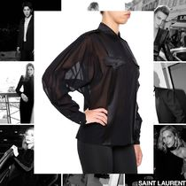 Saint Laurent Casual Style Street Style Long Sleeves Plain Cotton Medium