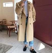 Street Style Plain Long Trench Coats