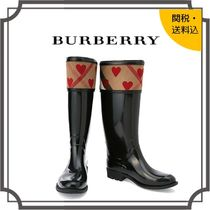 Burberry Other Check Patterns Round Toe Casual Style Blended Fabrics