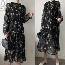 NANING9 Flower Patterns Long Sleeves Long High-Neck Dresses