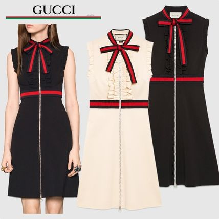 GUCCI A-line Sleeveless Medium Elegant Style Dresses (434249 X5C77 9555, 434249 X5C77 1301) by clockUp - BUYMA