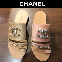 CHANEL Chain Plain Elegant Style Sandals
