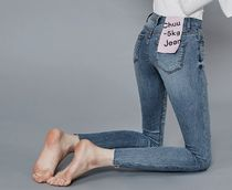 Plain Cotton Long Skinny Jeans