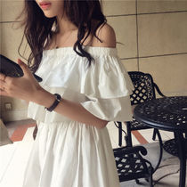 A-line Plain Cotton Medium Elegant Style Dresses