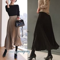Casual Style Pleated Skirts Plain Long Midi Maxi Skirts
