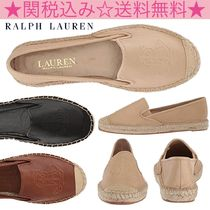 Ralph Lauren Round Toe Casual Style Blended Fabrics Plain Leather