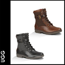 UGG Australia Lace-up Casual Style Plain Leather Lace-up Boots