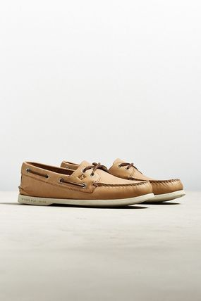 Street Style Plain Leather Deck Shoes Loafers & Slip-ons