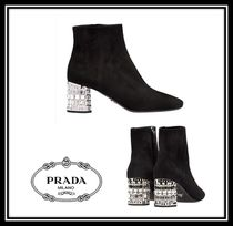 PRADA Square Toe Casual Style Suede Plain With Jewels Chunky Heels