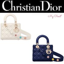 Christian Dior LADY DIOR Heart Lambskin Blended Fabrics 2WAY Plain Elegant Style