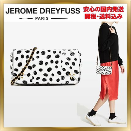 Dots Chain Leather Elegant Style Shoulder Bags