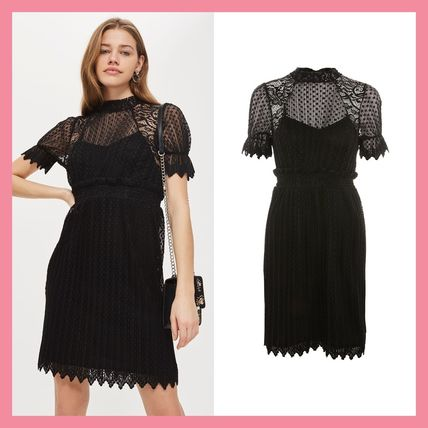 Topshop 2018 Ss Short Short Sleeves Party Style High Neck Lace