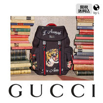 GUCCI Flower Patterns Canvas Other Animal Patterns Backpacks