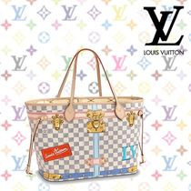 Louis Vuitton DAMIER AZUR Other Check Patterns A4 Leather Elegant Style Totes