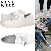 Nine West Round Toe Casual Style Street Style Plain Leather