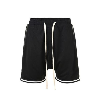 Stripes Street Style Plain Cotton Shorts