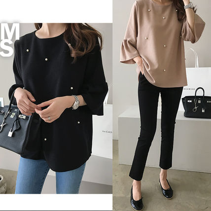 Shirts & Blouses Medium Elegant Style Puff Sleeves Shirts & Blouses