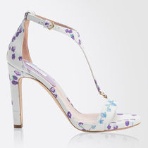 MaxMara Flower Patterns Round Toe Casual Style Leather Pin Heels