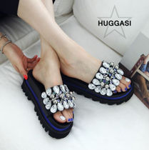 Open Toe Rubber Sole Blended Fabrics Plain With Jewels