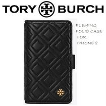 Tory Burch Plain Leather Smart Phone Cases
