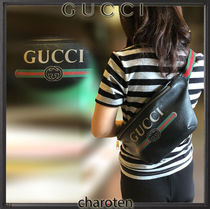 GUCCI Stripes Unisex Street Style Plain Leather Hip Packs
