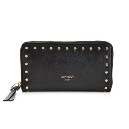 Dots Studded Leather Long Wallets