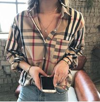 Tartan Casual Style Unisex Street Style Long Sleeves Medium