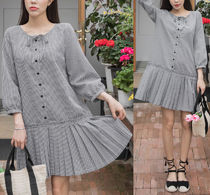 Other Check Patterns Casual Style Medium Dresses