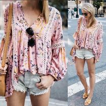 Chicwish Flower Patterns Casual Style Cropped Medium Shirts & Blouses