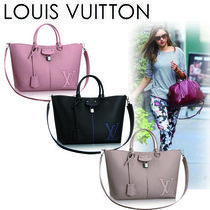 Louis Vuitton TAURILLON Casual Style A4 2WAY Plain Leather Totes