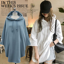 NANING9 Casual Style Long Sleeves Plain Cotton Long Oversized