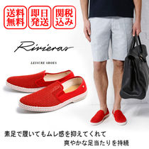 Rivieras Plain Toe Blended Fabrics Bi-color Plain Loafers & Slip-ons