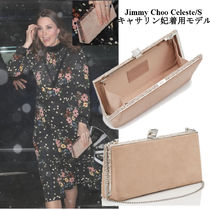 Jimmy Choo Suede Chain Plain Party Style Clutches