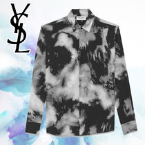 Saint Laurent Camouflage Silk Long Sleeves Shirts