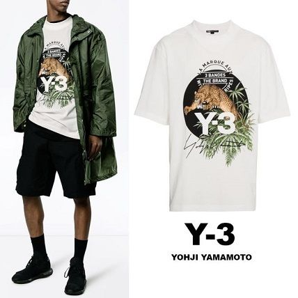 Y-3 Crew Neck Crew Neck Leopard Patterns Unisex Street Style Cotton