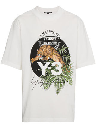 Y-3 Crew Neck Crew Neck Leopard Patterns Unisex Street Style Cotton 2