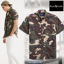 Ralph Lauren Button-down Camouflage Cotton Short Sleeves Shirts