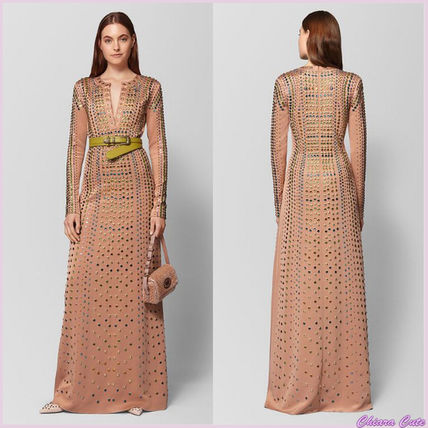 Maxi Long Sleeves Plain Long Party Style With Jewels Dresses