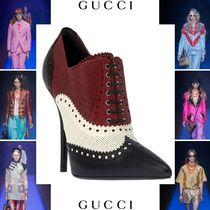 GUCCI Leather Pin Heels Elegant Style Ankle & Booties Boots