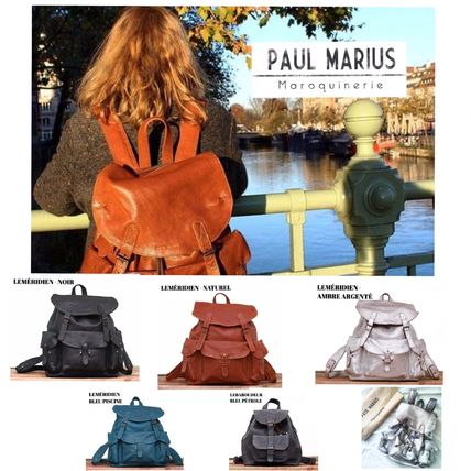 Casual Style Bag in Bag Plain Leather Backpacks