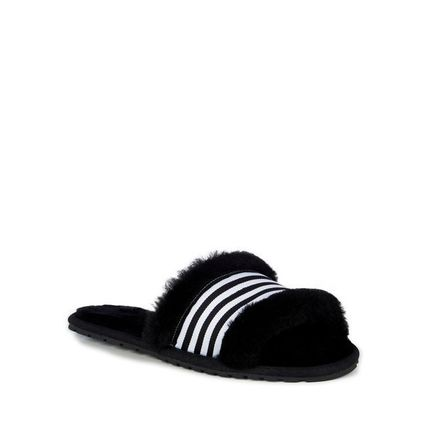 Stripes Open Toe Rubber Sole Casual Style Plain