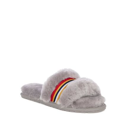 Stripes Open Toe Rubber Sole Casual Style Fur Plain