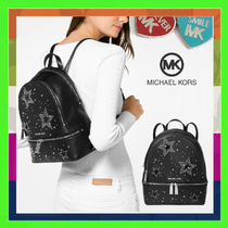 Michael Kors RHEA Star Casual Style Leather Backpacks