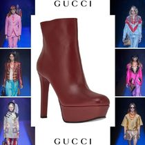 GUCCI Plain Leather Elegant Style Ankle & Booties Boots