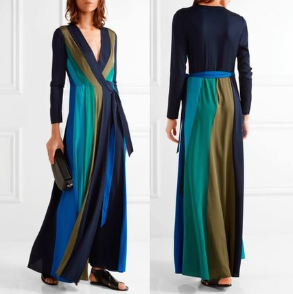 Stripes Maxi Silk V-Neck Long Sleeves Long Party Style