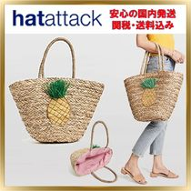 HAT Attack Tropical Patterns Unisex A4 Straw Bags