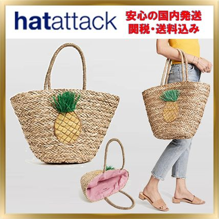 Tropical Patterns Unisex A4 Straw Bags