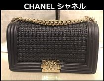 CHANEL Blended Fabrics 2WAY Chain Plain Leather Elegant Style