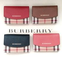 Burberry Other Check Patterns Lambskin Card Holders