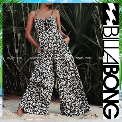 Dungarees Flower Patterns Casual Style Sleeveless V-Neck
